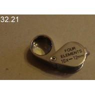 32.21 - Lupa zvětšení 10x, průměr čočky 12 mm (stříbrná)
