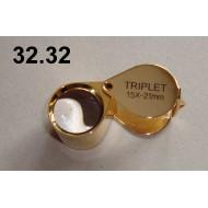 32.32 - Lupa zvětšení 15x, průměr čočky 21 mm (zlatá)