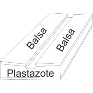 07.501 - Plastazote setting boards with balsa - span 4 cm, length 30 cm, groove 4 mm