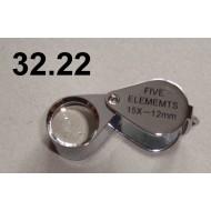 32.22 - Lupa zvětšení 15x, průměr čočky 12 mm (stříbrná)