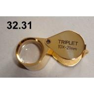 Lupa zvětšení 10x, průměr čočky 21 mm (zlatá)