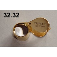Lupa zvětšení 15x, průměr čočky 21 mm (zlatá)