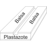 07.50 - Plastazote setting boards with balsa - span 4 cm, length 30 cm, groove 4 mm