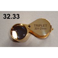 Lupa zvětšení 20x, průměr čočky 21 mm (zlatá)