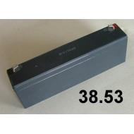38.53 - Akumulátor - 12V/2,6Ah , (14,4-15V,0,78A), váha 1 kg, rozměr 34x178x60 mm