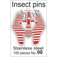 02.20 - Entomologické špendlíky nerezové č.00, délka 38 mm