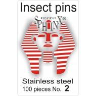 02.02 - Entomologické špendlíky nerezové č.2, délka 38 mm