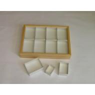 06.18 - Entomological wooden box 40x50x6 cm (natural alder) without filling for CARTON UNIT SYSTEM, glass lid